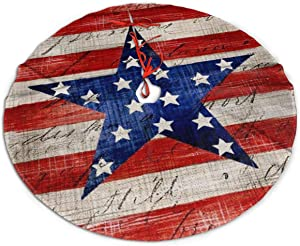 MSGUIDE 48 Inch American Memorial Patriotic Eagle Star Christmas Decor Tree Skirt Large Polyester Xmas Tree Mat for Home Festive Holiday Decor
