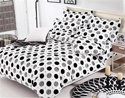 Reversible Stripes Polka Dot Modern Bedding Sets Duvet Cover Pillowcase Elegant