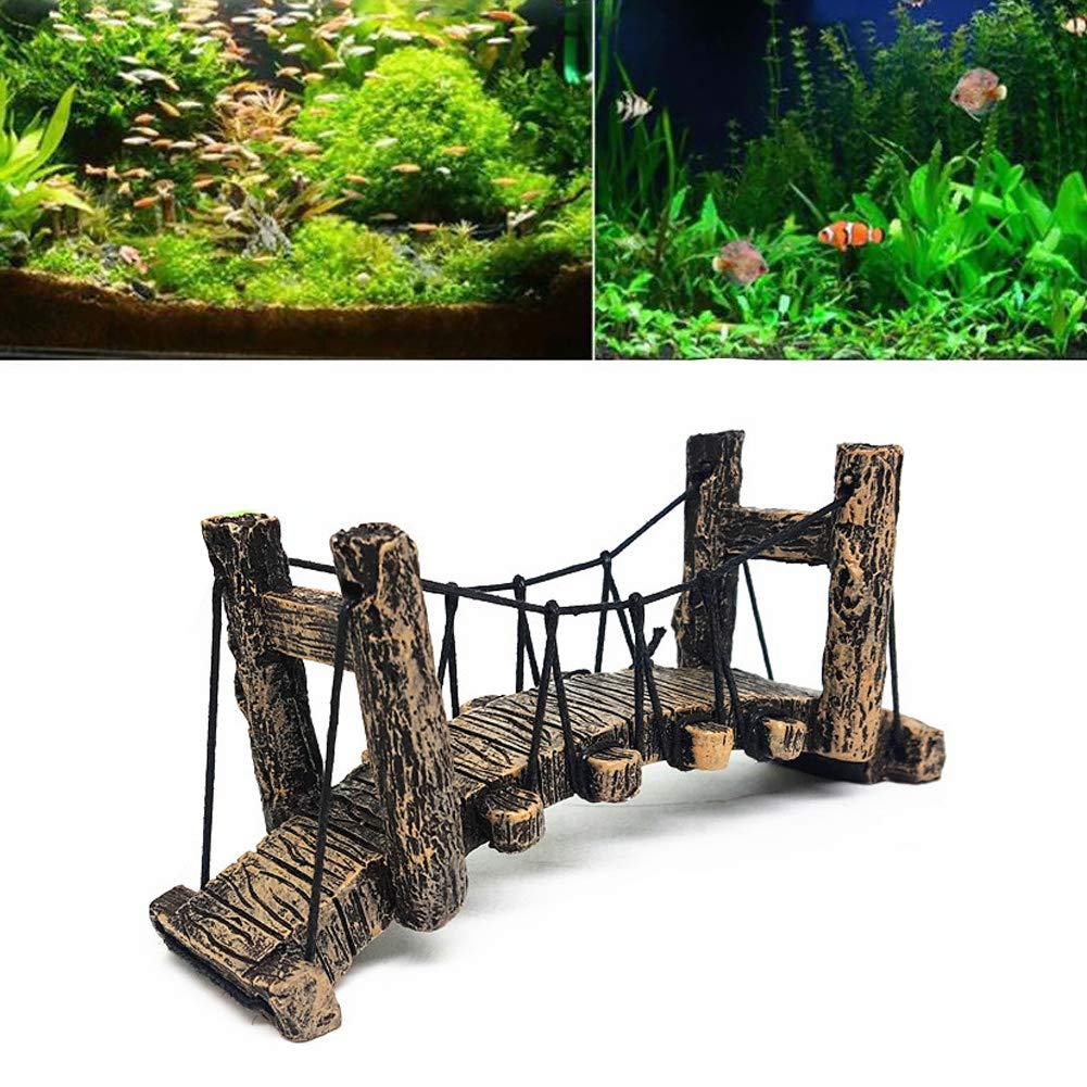 Unicoco Aquarium Bridge Decor Resin Fish Hiding Cave Underwater Landscape Ornament Fish Tank Hanging Arch Bridge Aquarium Décor Fish & Aquatic Pets