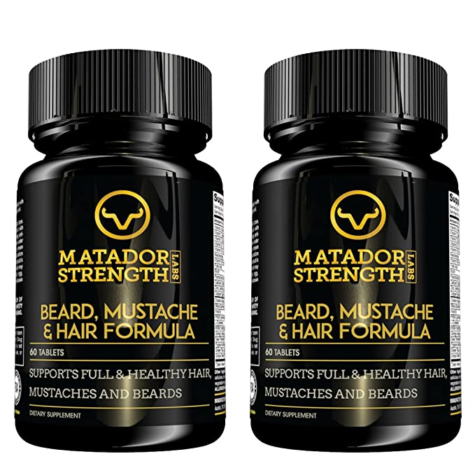 Beard Growth Supplement for Men - Promotes Thicker, Longer & Fuller Facial Hair with Biotin & B12 2 Bottles Made in USA