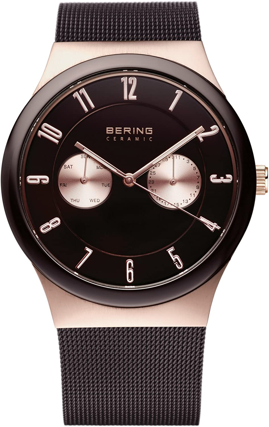 BERING Time 32139-265 Ceramic Collection Watch with Mesh Band and Scratch Resistant Sapphire Crystal. Designed in Denmark.