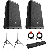 """Electro-Voice ZLX-12BT 12"""" 2-Way 1000W Bluetooth Powered Loudspeaker (Pair) with 2x Steel Speaker Stand, Stand Bag 51…"""