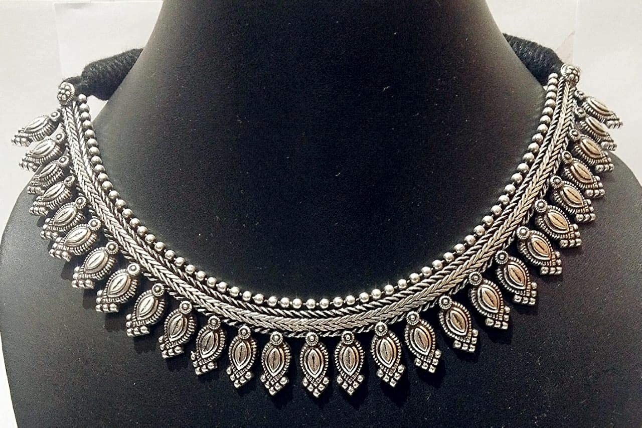 Pearl and Rhinestone Oxidized Brass Romantic Choker Necklace Choose Length
