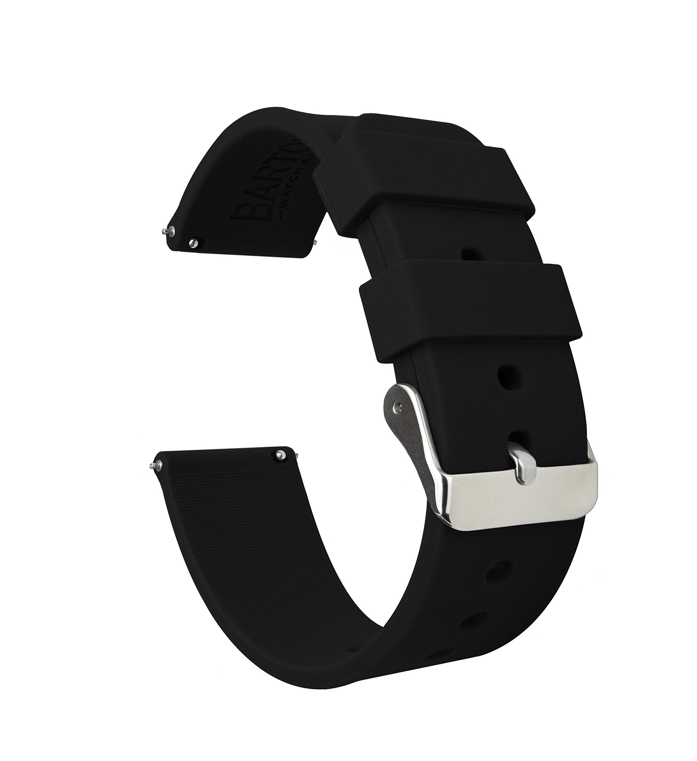 Barton Silicone Watch Bands - Quick Release Straps - Choose Color & Width - 16mm, 18mm, 20mm, 22mm - Black 22mm by Barton Watch Bands