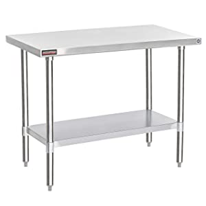 """DuraSteel Stainless Steel Work Table 24"""" x 48"""" x 34"""" Height - Food Prep Commercial Grade Worktable - NSF Certified - Fits for use in Restaurant, Business, Warehouse, Home, Kitchen, Garage"""