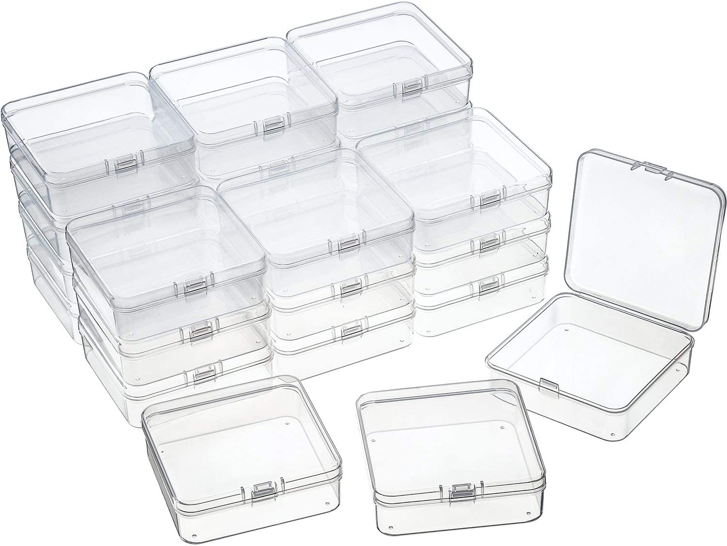 24 Packs Small Clear Plastic Beads Storage Containers Box with Hinged Lid for Storage of Small Items, Crafts, Jewelry, Hardware(2.9 x 2.9 x 1 Inches)