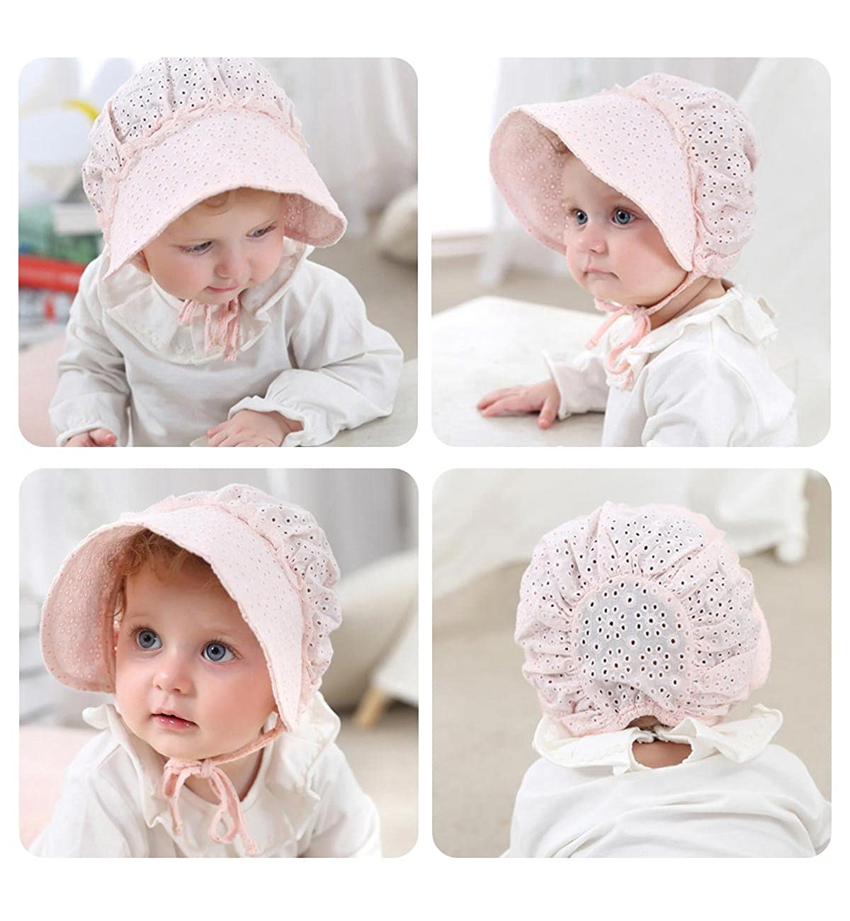 8bbded7a82c Amazon.com  SUMOLUX Summer and Spring Baby Newborn Sweet Lace Princess Fishing  hat Hollow Court Cap Sun hats  Clothing