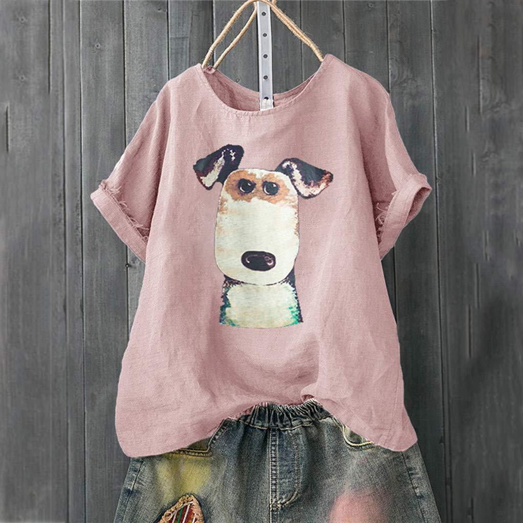 Camisa de Mujer de Lino con Estampado de Perros Camisetas t/única Manga Corta Blusa Tallas Grandes Sueltos