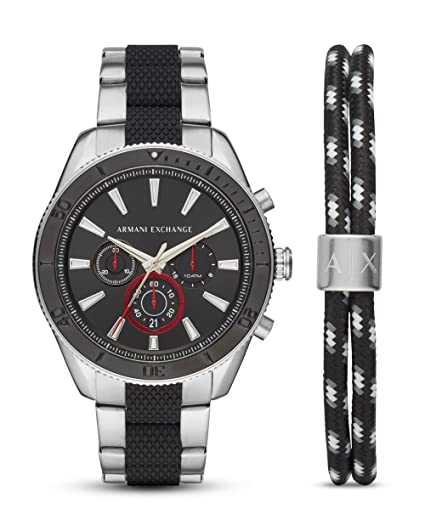 8cb224a95 Armani Exchange Men's Sliver Black 'Active' Chronograph Watch Bracelet Set  AX7106: Amazon.co.uk: Watches