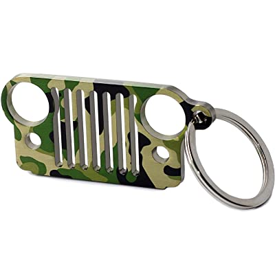 LROEZR 3D Font Grill Keychain Chain Key Ring for Jeep Driver Enthusiast Automotive Laser Cut 304 Stainless Steel Keyring (Camo): Automotive