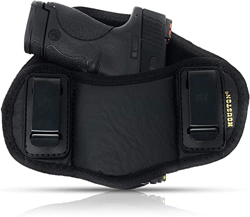 Tactical Pancake Gun Holster Houston - ECO Leather Concealed Carry Soft Material | Suede Interior for Protection | IWB | Right Hand | Fit: Glock 19 23 32 26...
