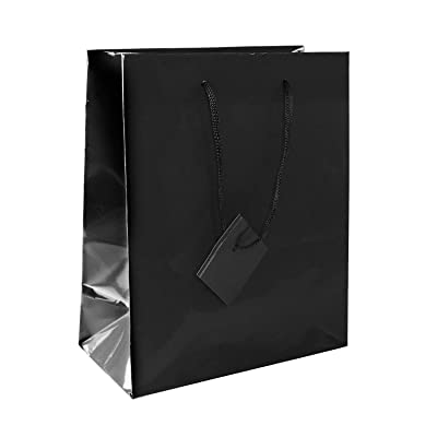 Solid Colored Blank Paper Party Gift Bags with String Handles for Birthday Favors, Snacks, Wedding Bridal, Decoration, Arts & Crafts, Event Supplies (12 Bags) by Super Z Outlet (Black)