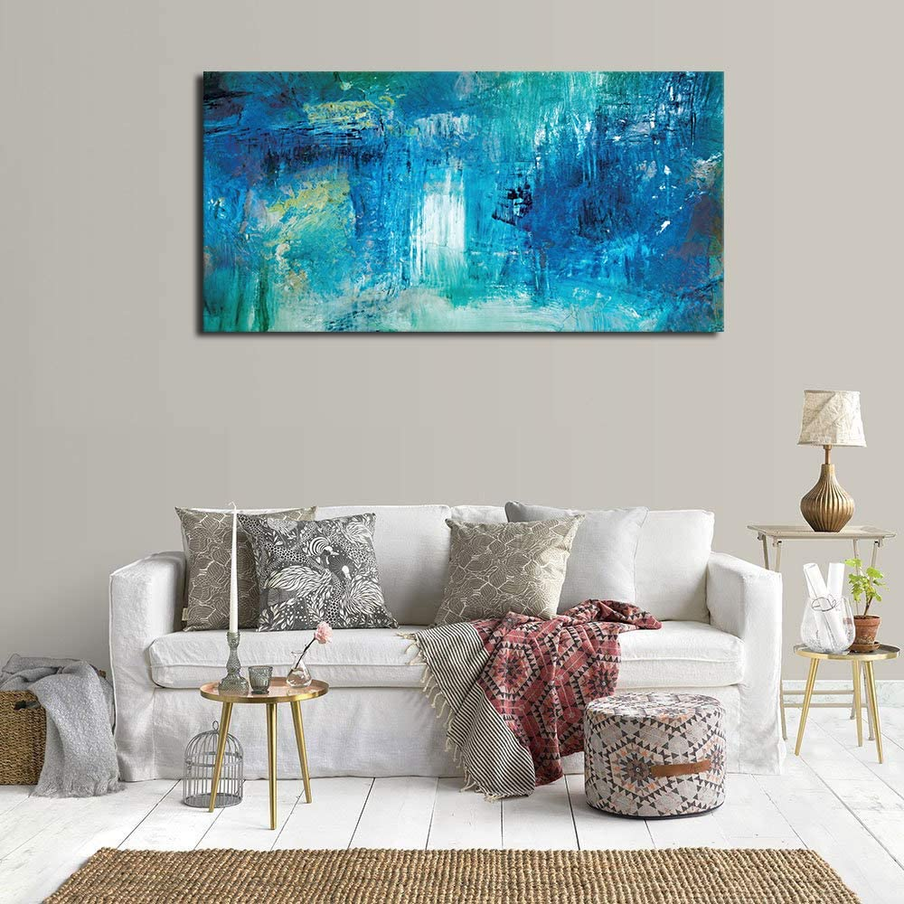 yearainn Abstract Wall Art Living Room Wall Decor Contemporary Wall Art Abstract Painting Picture Prints Bedroom Office Home Decor Blue Modern Canvas ...
