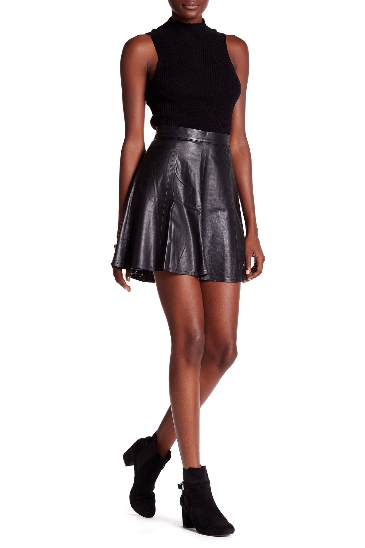 rag & bone Women's Suki Genuine Leather Flared Skirt Black Size 0 (25) by rag & bone