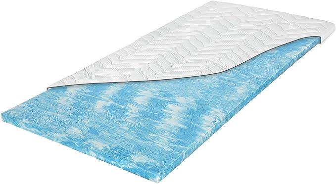 Meos® Cubrecolchón de espuma de gel de 120 x 200 cm para colchones y camas con somier, fabricado en Alemania, alto RG50, funda lavable hasta 60 °C, ...