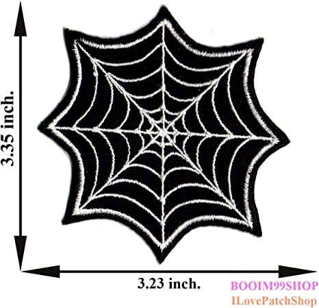 Spider Web with Black Spider Iron Sew on Embroidered Patch applique