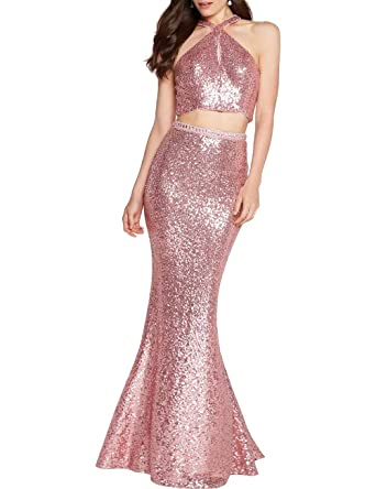 b51e2bf0eded Rose Gold Halter Two Pieces Sequin Prom Dresses Mermaid Long Evening Dresses  (Rose Gold Size