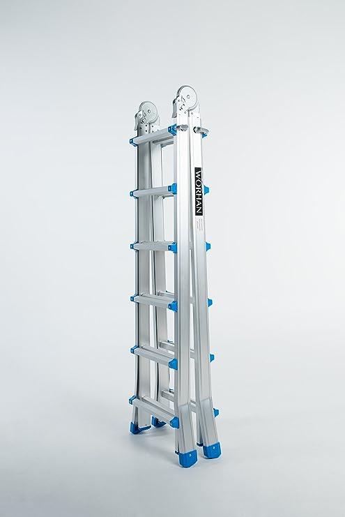 WORHAN® 587 cm escalera telescópica plegable posposición 5,87 m ilovehandles aluminio L6: Amazon.es: Bricolaje y herramientas