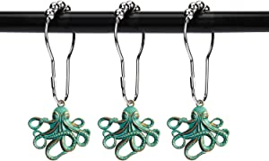 ZILucky Set of 12 Octopus Shower Curtain Hooks Decorative Home Bathroom Squid Sea Creature Beast Stainless Steel Rustproof Brushed Nickel Rings with Octopus Decorative Accessories (Patina)