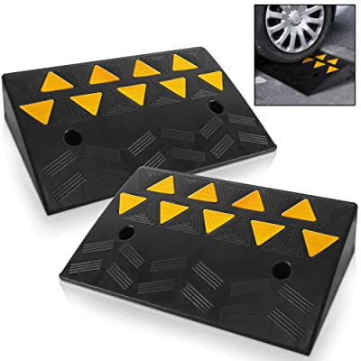 Pyle Car Vehicle Curbside Driveway Ramp - 2PC Heavy Duty Rubber Threshold Bridge Track Curb Ramp, for Loading Dock, Garage, Sidewalk, Truck, Scooter, Bike, Motorcycle, Wheelchair Mobility PCRBDR45: Automotive