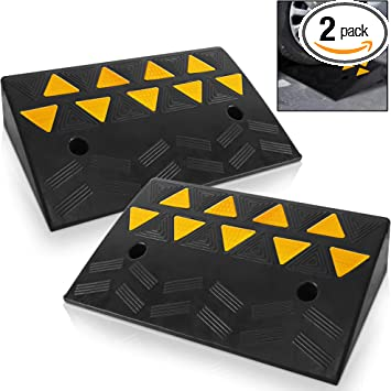 Car Sidewalk Scooter Truck 2PC Heavy Duty Plastic Threshold Ramp Kit Set for Driveway Loading Dock Portable Lightweight Plastic Curb Ramps Motorcycle Wheelchair Mobility Bike