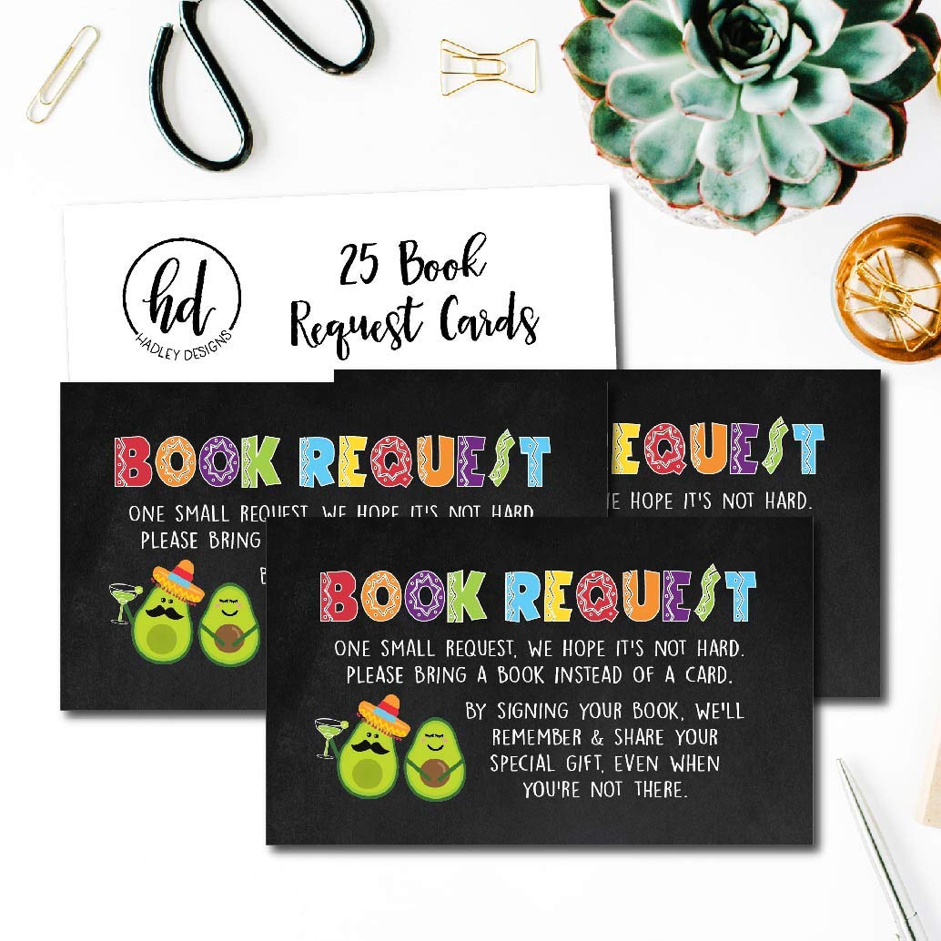 Spanish Mexican Cute Bring A Book Instead of A Card Theme for Gender Neutral Reveal Party Story Games 25 Fiesta Books for Baby Request Insert Card for Boy or Girl Baby Shower Invitations or invites