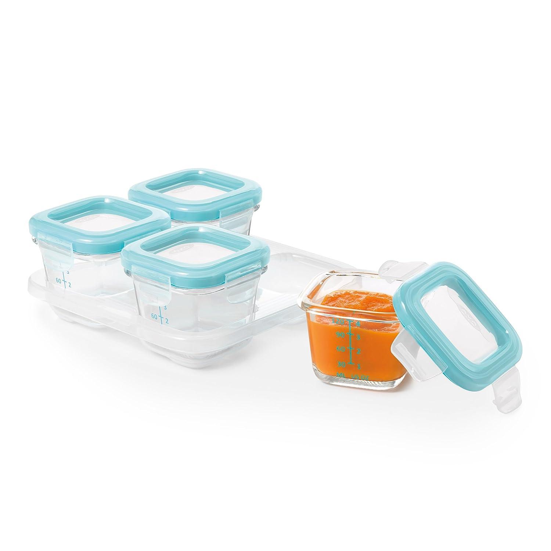 OXO Tot Glass Baby Blocks Freezer Storage Containers Aqua 4 oz