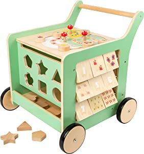 Small Foot Wooden Toys Premium Pastel Wooden Baby Walker and playcenter Move it! Designed for Toddlers 12+ Months