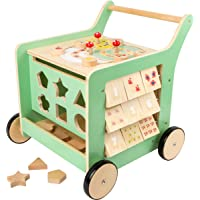 Small Foot Wooden Toys Premium Pastel Wooden Baby Walker and playcenter Move it! Designed for Toddlers 12+ Months, Multi…