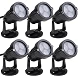 Annstory 6pcs 6W Bright LED Outdoor Black Landscape Light with Cord Set, Flood Light for Garden Yard Patio Path Lawn, Waterproof, Warm White, Please do not use Transformers Input Voltage: AC 85~265V