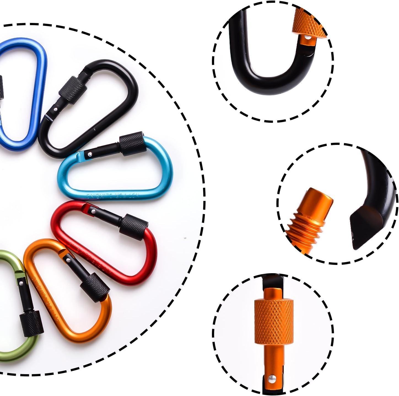 Mosquetón, aluminio mosquetón, D gancho llavero del clip para mochila,handpack,cuerdas,Camping, senderismo - 17pcs