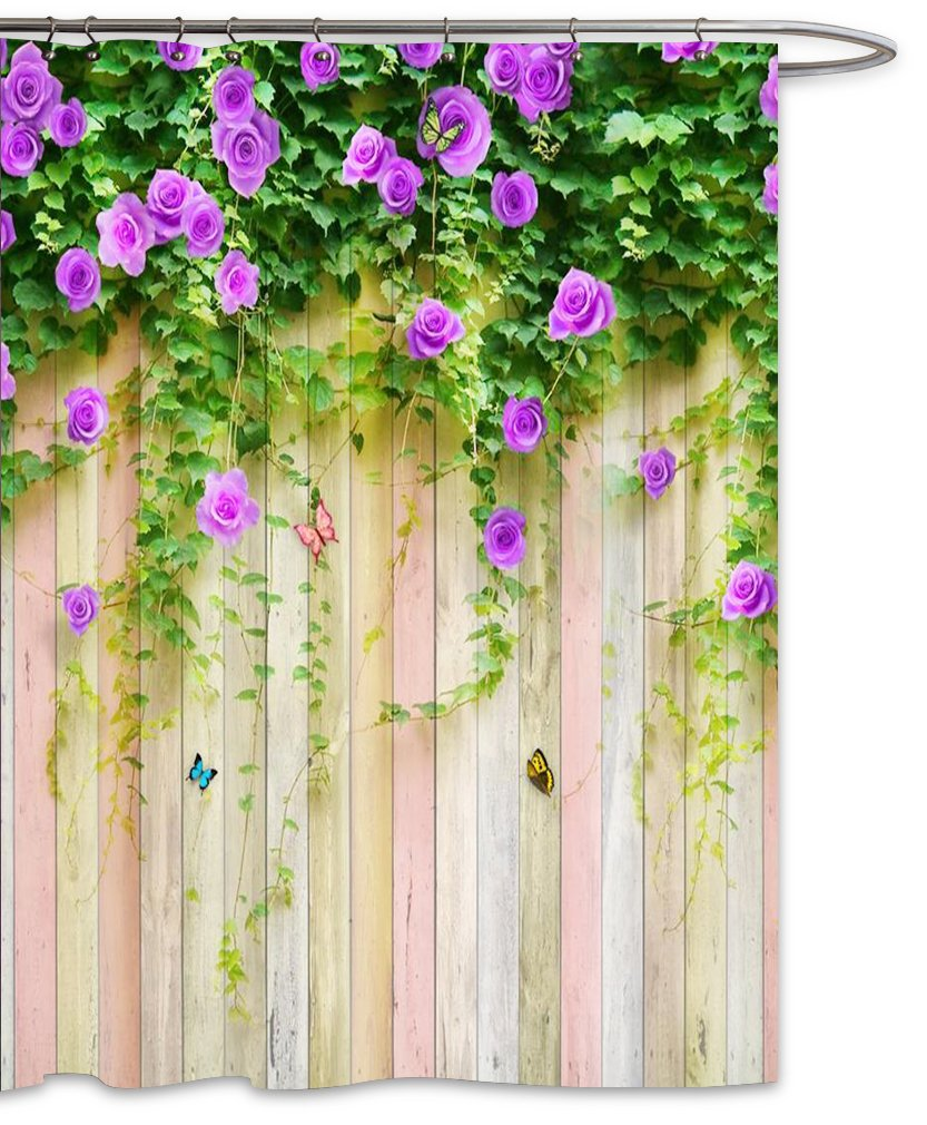 FOOG Rose Shower Curtain Spring Wood Panel Sets Floral Stripes Wood Pattern Colorful Butterfly Spring Floral Countryside Scenery Polyester Fabric Mildew Resistant Waterproof-Green Purple (70'' Wx78 L)