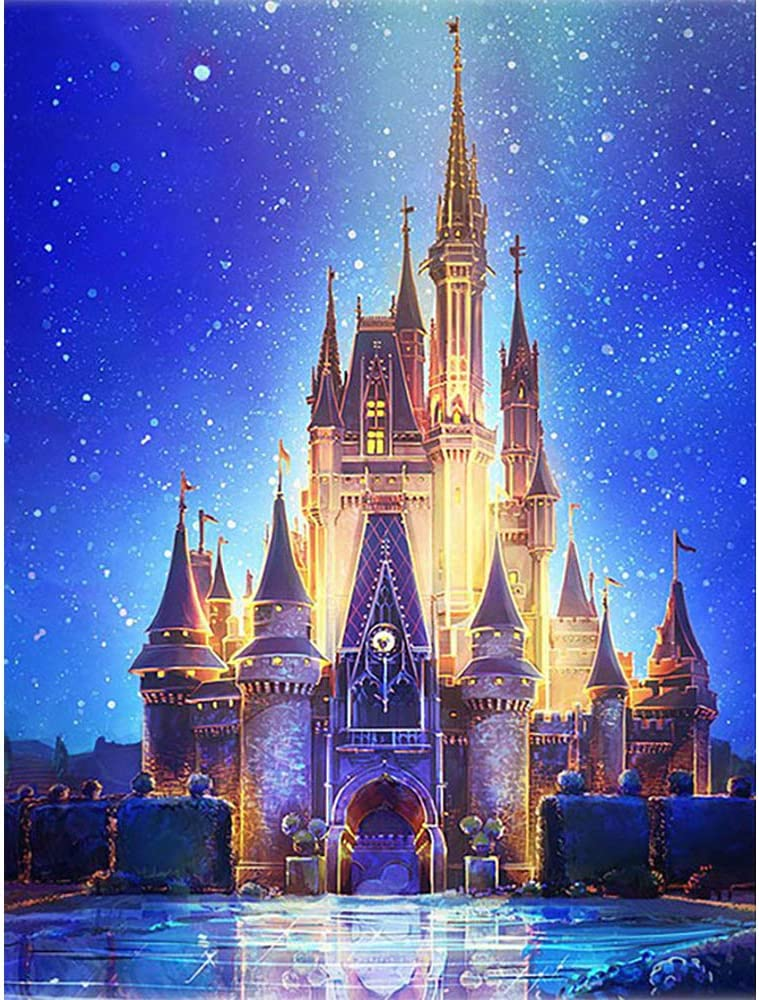 DIY 5D Diamond Painting by Number Kits, Crystal Rhinestone Diamond Embroidery Paintings Pictures Arts Craft for Home Wall Decor (Castle 11.8X15.7Inches)