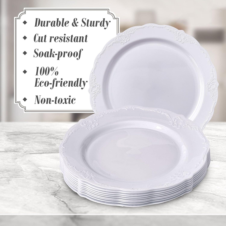 Juego de vajilla desechable para fiestas, 30 piezas, 10 platos llanos, 10 platos de ensalada, 10 platos de postre, platos de plástico pesados, ...