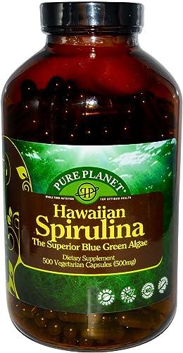 Pure Planet Spirulina – 500 mg – 500 Vegetarian Capsules