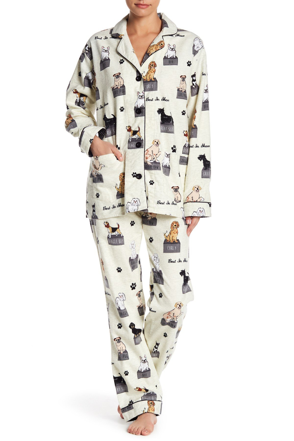 PJ Salvage Women's Fantastic Flannels Dog Cream -XL