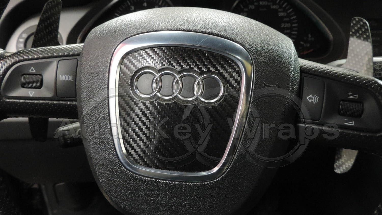 Black Carbon Fiber Airbag Steering Wheel Wrap S RS A1 A3 A4 A5 A6 A8 TT Q3 Q5 Q7 SuperWrappz