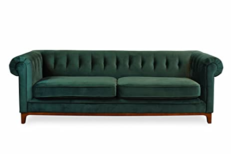 EDLOE FINCH Green Velvet Sofa   Chesterfield Midcentury Modern Sofas For  Living Room, Tufted