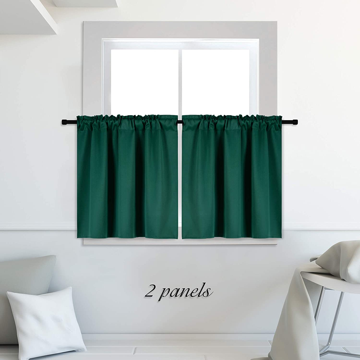 DONREN 24 Inch Length Medium Grey Small Curtains for Bathroom Blackout Thermal Insulating Curtain Tiers for Bedroom with Rod Pocket 42 by 24 Inches,2 Panels