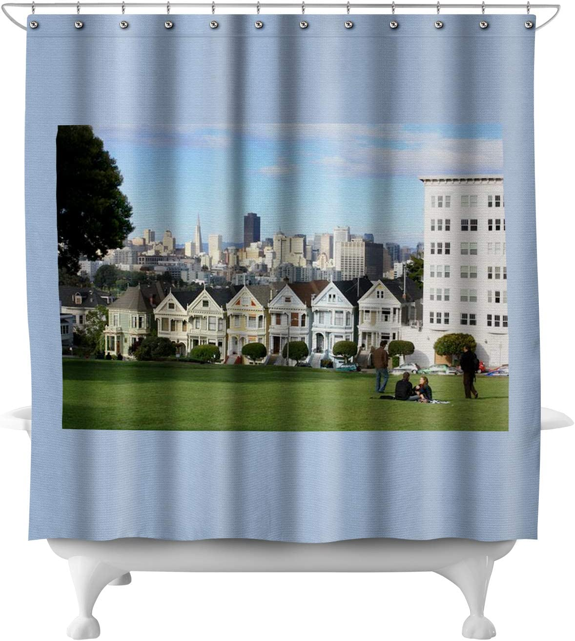 Amazon Com San Francisco California Alamo Square Painted Ladies Houses A 9006122 71x74 Polyester Shower Curtain Posters Prints