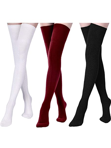 a4e07dfa194 Boao 3 Pairs Women Extra Long Cotton Socks Thigh High Socks Over Knee Boot  Socks for
