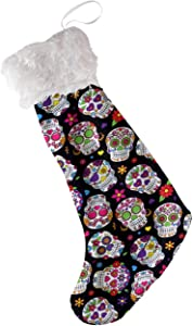 SURSUBUN 21 Inches Christmas Stocking with Plush Faux Fur Cuff Dead Sugar Skull Printed Xmas Stockings for Holiday Family Party Decor