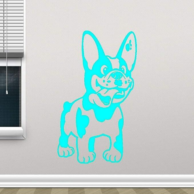 Bulldog francés Etiqueta de la pared Perro Etiqueta de vinilo Mascotas Cachorro Arte de la pared Diseño animal Tienda de mascotas Decoración de la pared Color-2 56x88cm: Amazon.es: Bebé