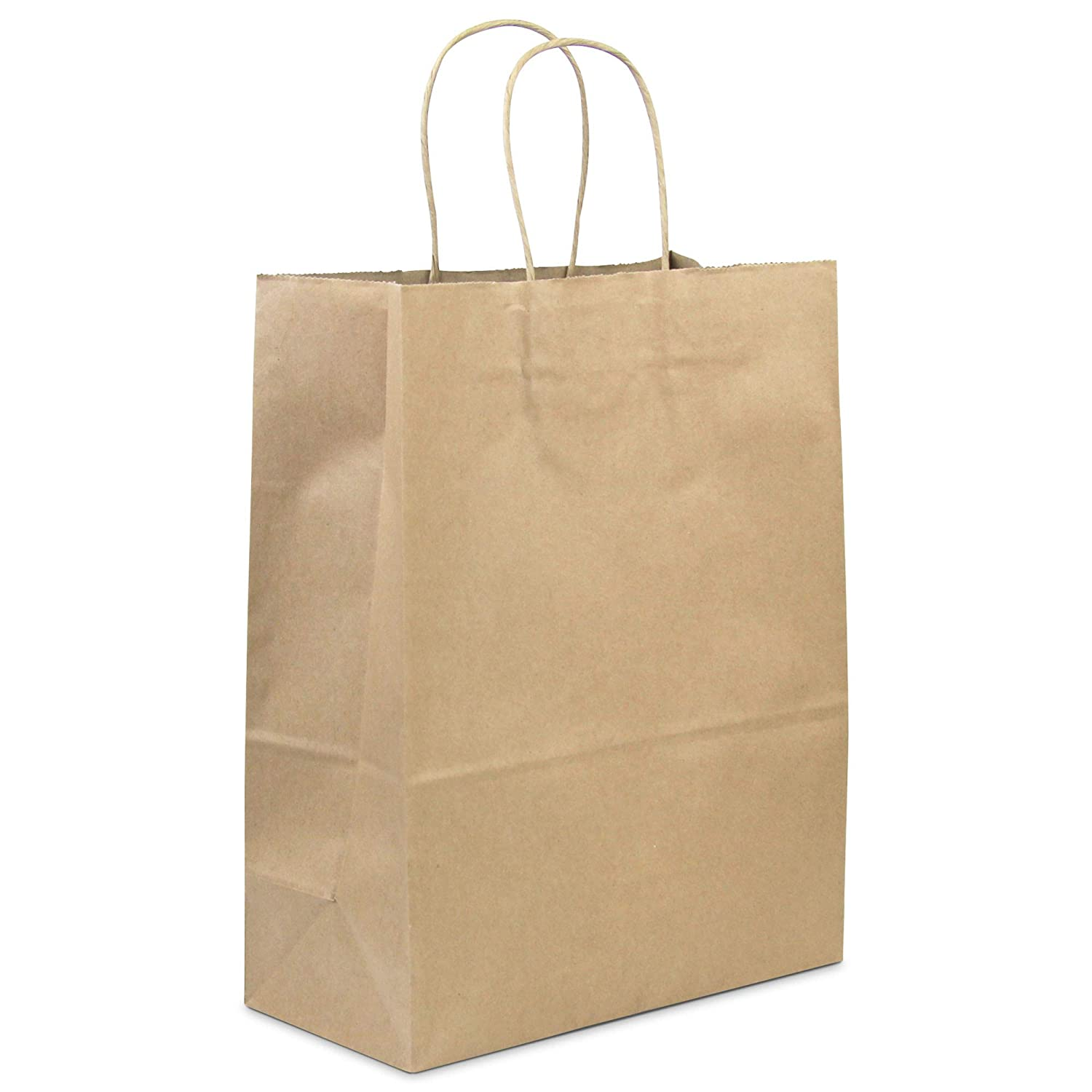"[50 Pack] Heavy Duty Kraft Paper Bags with Handles 13 x 10 x 5"" 12 LB Twisted Rope Retail Shopping Gift Durable Natural Brown Barrel Sack"