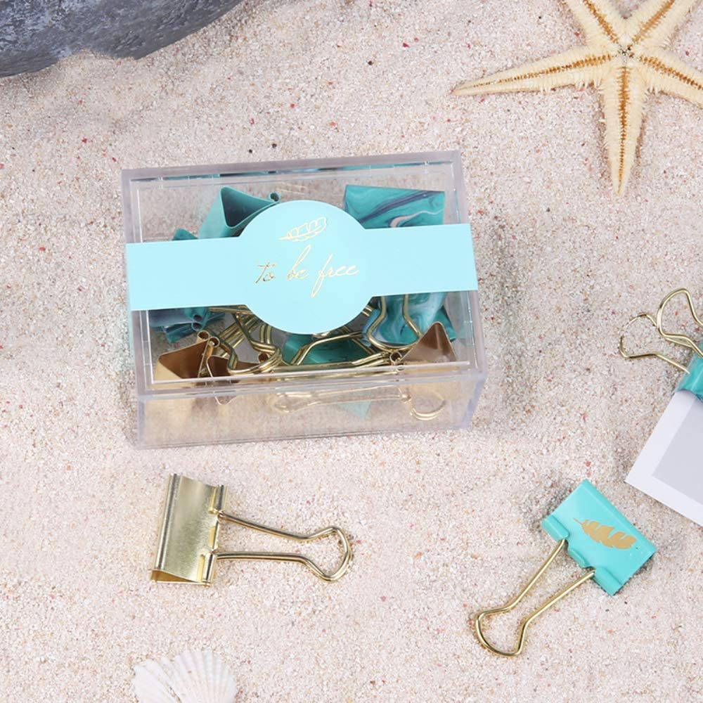 School and Home Supplies MultiBey Light Blue Binder Clips Fashion Metal Fold Back Paper Clamp 25 Count 19mm Clips with Acrylic Box for Office 19mm 3//4 Inch