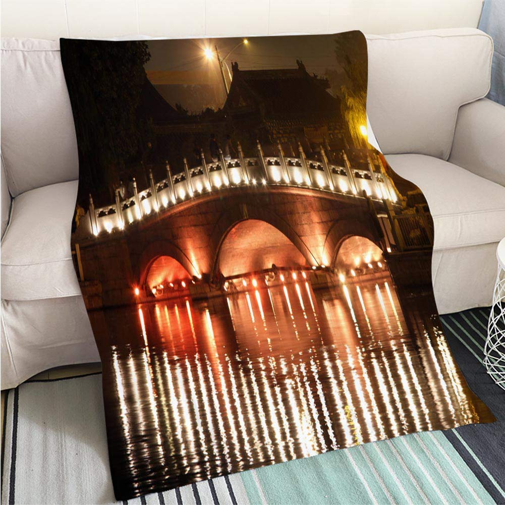 color13 59 x 80in Art Design Photos Cool Quilt Night View of The Bund Shanghai Hypoallergenic Blanket for Bed Couch Chair