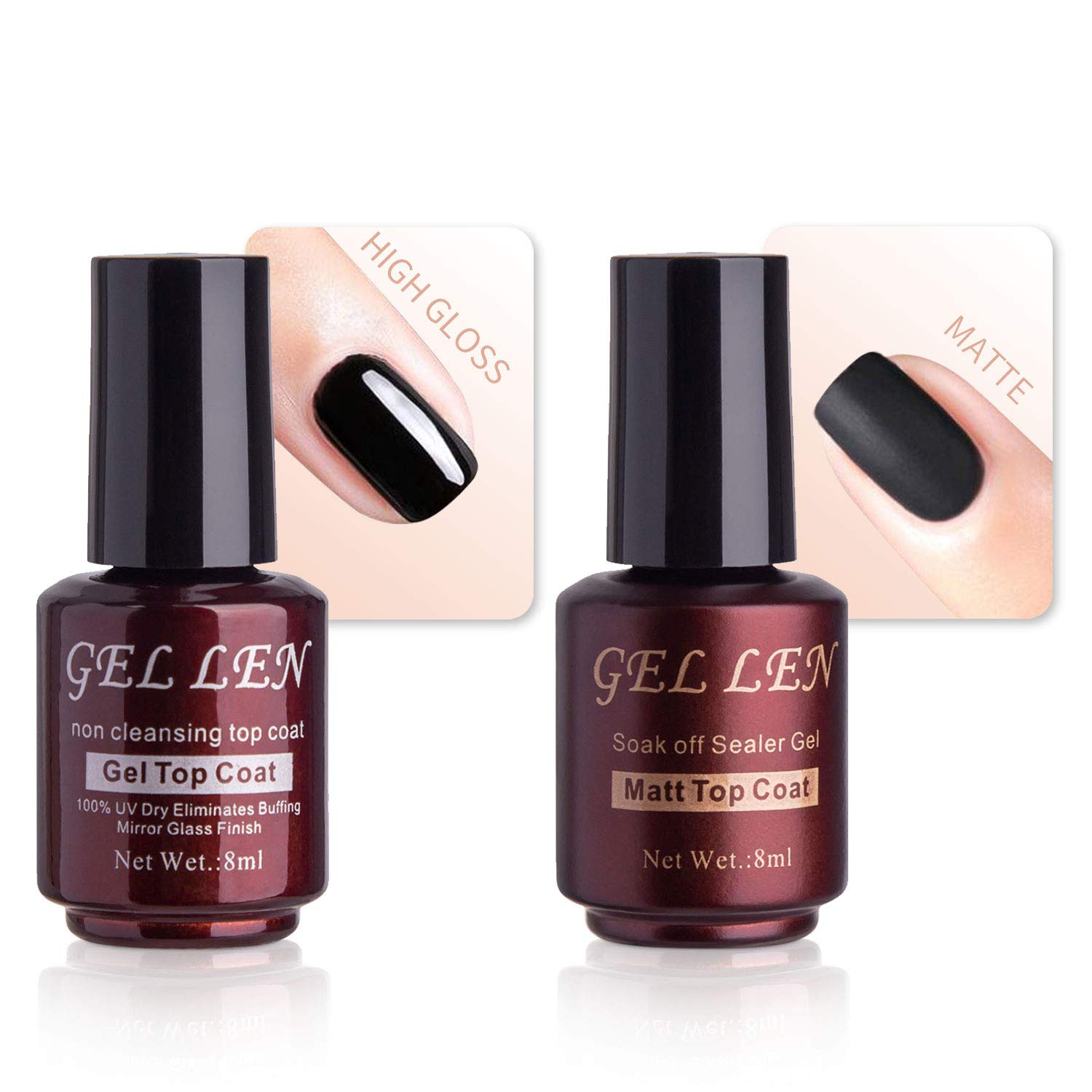 Amazon.com : Gellen No Wipe Matte Top Coat and High Gloss Shiny Top ...