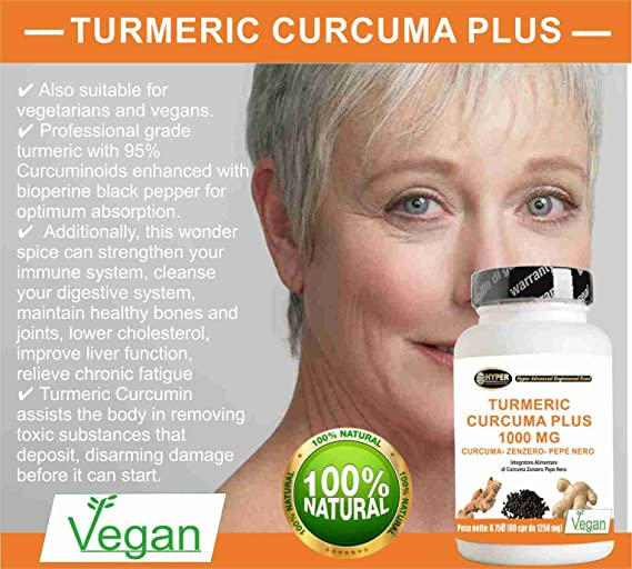 Turmeric Curcuma 1000 La curcumina + Jengibre + piperina - quemador de grasa | alta dosis de cápsula | extracto de cúrcuma seca titulado a 95% y pimienta ...