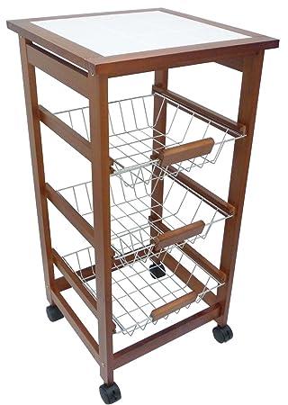Carrito de cocina de verduras de madera (nogal, con ruedas, base de cerámica), color marrón: Amazon.es: Hogar