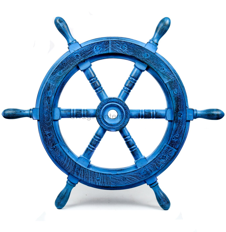 Nagina International(ナジャイナインターナショナル) Nautical高級ハンドクラフト木製操舵輪 | 海賊風家庭壁装飾&ギフト |48 Inches NWH009AV B01FVSR2TM 48 Inches|アンティークバイオレット アンティークバイオレット 48 Inches